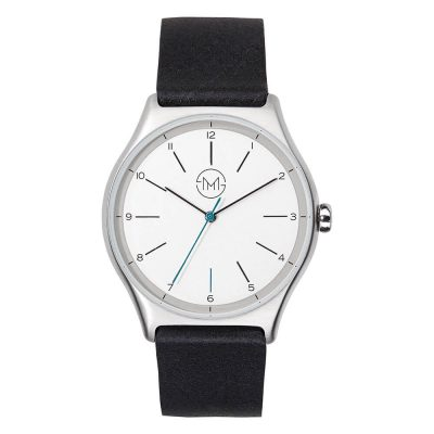 01 - slim made one 02 - thin wrist watch in silver with black leather band - front
