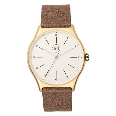 01 - slim made one 09 - thin wrist watch in gold with dark brown leather band - front