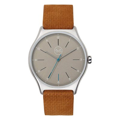 01 - slim made one 04 - thin wrist watch in silver with brown leather band - front