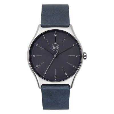 01 - slim made one 05 - thin wrist watch in silver with anthracite leather band - front