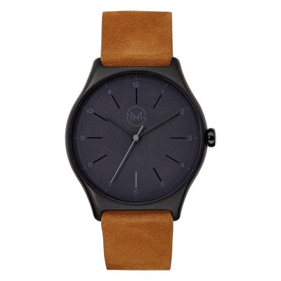01 - slim made one 06 - thin wrist watch in black with brown leather band - front