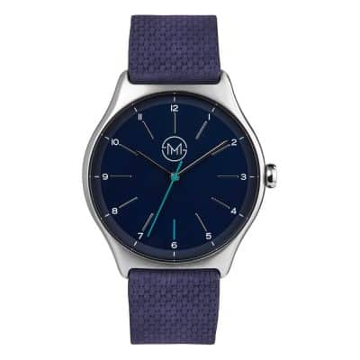 slim made one 11 - thin wrist watch in silver with blue leather band - 01