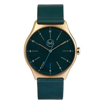 slim made one 13 - thin wrist watch in gold with green leather band - 01