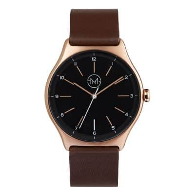 slim made one 15 - thin wrist watch in rose gold with dark brown leather band - 01