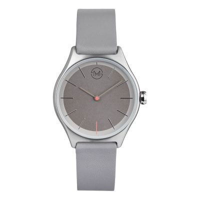 slim made two 04 - thin wrist watch in silver with grey leather band - 01